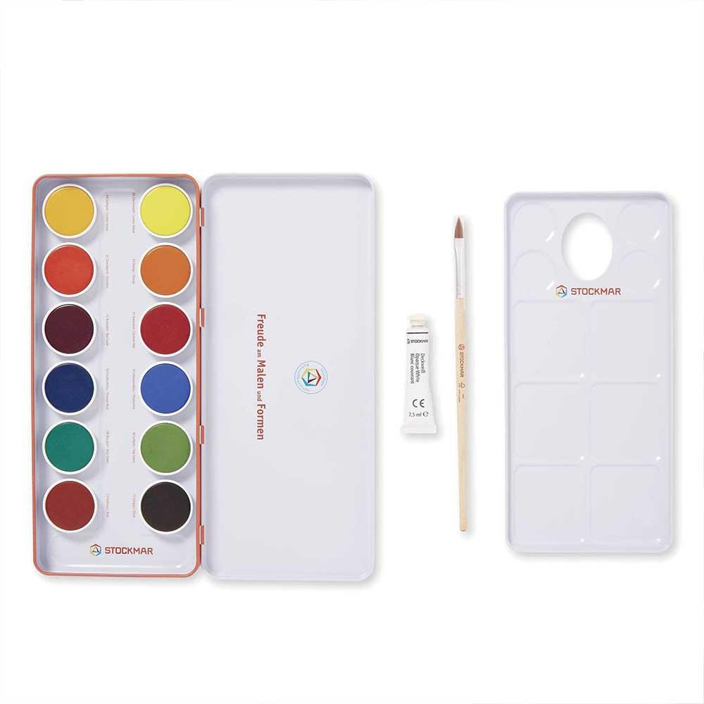 Stockmar vandfarve - 12 farver m. pensel
